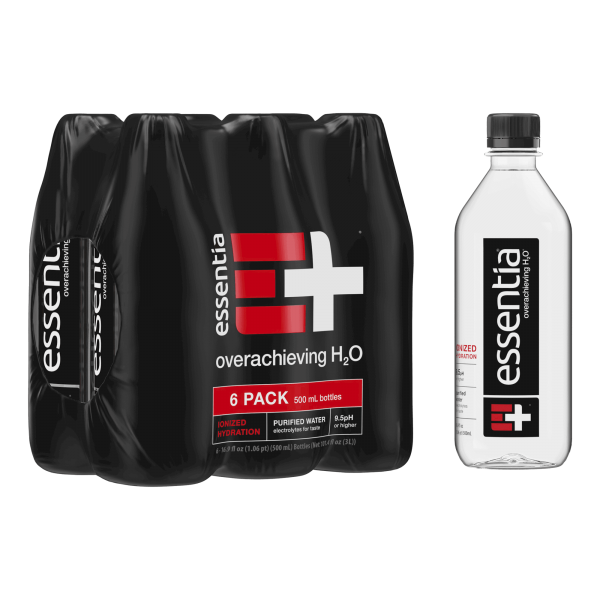 Essentia Water 500ml single bottle and 6-pack