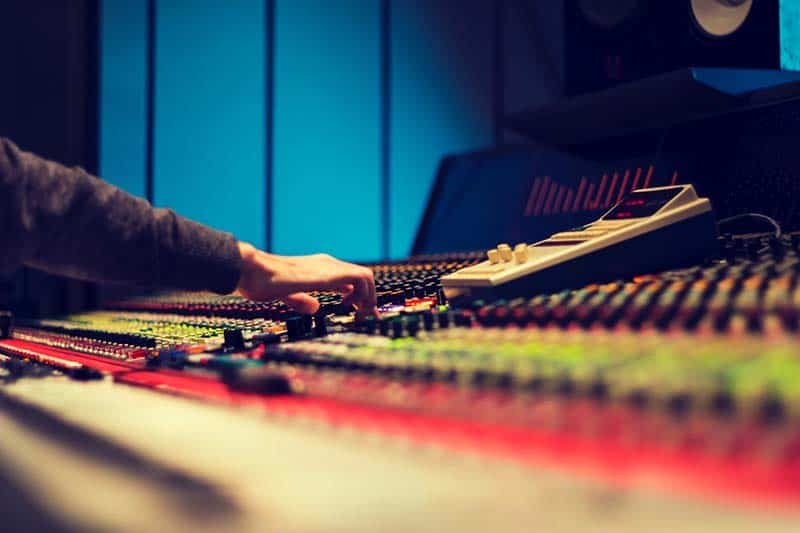 Music producer in the studio